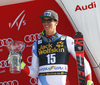 Third placed Ramon Zenhaeusern of Switzerland celebrates on the podium after the men slalom race of the Audi FIS Alpine skiing World cup in Kranjska Gora, Slovenia. Men slalom race of the Audi FIS Alpine skiing World cup was held on Podkoren track in Kranjska Gora, Slovenia, on Sunday, 4th of March 2018.