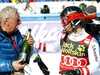 Winner Marcel Hirscher of Austria and his father Ferdinand (L) after the men slalom race of the Audi FIS Alpine skiing World cup in Kranjska Gora, Slovenia. Men slalom race of the Audi FIS Alpine skiing World cup was held on Podkoren track in Kranjska Gora, Slovenia, on Sunday, 4th of March 2018.