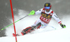 Marcel Hirscher of Austria skiing in the first run of the men slalom race of the Audi FIS Alpine skiing World cup in Kranjska Gora, Slovenia. Men slalom race of the Audi FIS Alpine skiing World cup was held on Podkoren track in Kranjska Gora, Slovenia, on Sunday, 4th of March 2018.