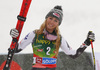 Third placed Mikaela Shiffrin of USA celebrates on the podium after the women giant slalom race of the Audi FIS Alpine skiing World cup in Soelden, Austria. First women race of the Audi FIS Alpine skiing World cup season 2018-2019 was held on Rettenbach glacier above Soelden, Austria, on Saturday, 27th of October 2018.