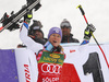 Winner Tessa Worley of France celebrates on the podium after the women giant slalom race of the Audi FIS Alpine skiing World cup in Soelden, Austria. First women race of the Audi FIS Alpine skiing World cup season 2018-2019 was held on Rettenbach glacier above Soelden, Austria, on Saturday, 27th of October 2018.