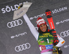 Second placed Federica Brignone of Italy  celebrates on the podium after the women giant slalom race of the Audi FIS Alpine skiing World cup in Soelden, Austria. First women race of the Audi FIS Alpine skiing World cup season 2018-2019 was held on Rettenbach glacier above Soelden, Austria, on Saturday, 27th of October 2018.