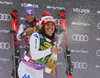 Second placed Federica Brignone of Italy  celebrating after the women giant slalom race of the Audi FIS Alpine skiing World cup in Soelden, Austria. First women race of the Audi FIS Alpine skiing World cup season 2018-2019 was held on Rettenbach glacier above Soelden, Austria, on Saturday, 27th of October 2018.