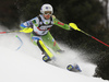 Ana Bucik of Slovenia skiing in the first run of the women slalom race of the Audi FIS Alpine skiing World cup on Sljeme above Zagreb, Croatia. Women slalom race of the Audi FIS Alpine skiing World cup season 2018-2019 was held on Sljeme above Zagreb, Croatia, on Saturday, 5thth of January 2019.