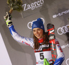 Second placed Petra Vlhova of Slovakia celebrates on the podium after the women slalom race of the Audi FIS Alpine skiing World cup on Sljeme above Zagreb, Croatia. Women slalom race of the Audi FIS Alpine skiing World cup season 2018-2019 was held on Sljeme above Zagreb, Croatia, on Saturday, 5th of January 2019. <br>