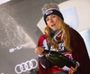 Winner Mikaela Shiffrin of USA celebrates on the podium after the women slalom race of the Audi FIS Alpine skiing World cup on Sljeme above Zagreb, Croatia. Women slalom race of the Audi FIS Alpine skiing World cup season 2018-2019 was held on Sljeme above Zagreb, Croatia, on Saturday, 5th of January 2019. <br>