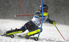 Anna Swenn Larsson of Sweden skiing in the first run of the women slalom race of the Audi FIS Alpine skiing World cup Flachau, Austria. Women slalom race of the Audi FIS Alpine skiing World cup season 2018-2019 was held Flachau, Austria, on Tuesday, 8th of January 2019.