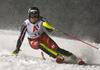Laurence St-Germain of Canada skiing in the first run of the women slalom race of the Audi FIS Alpine skiing World cup Flachau, Austria. Women slalom race of the Audi FIS Alpine skiing World cup season 2018-2019 was held Flachau, Austria, on Tuesday, 8th of January 2019.