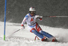 Michelle Gisin of Switzerland skiing in the first run of the women slalom race of the Audi FIS Alpine skiing World cup Flachau, Austria. Women slalom race of the Audi FIS Alpine skiing World cup season 2018-2019 was held Flachau, Austria, on Tuesday, 8th of January 2019.