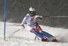 Michelle Gisin of Switzerland skiing in the first run of the women slalom race of the Audi FIS Alpine skiing World cup Flachau, Austria. Women slalom race of the Audi FIS Alpine skiing World cup season 2018-2019 was held Flachau, Austria, on Tuesday, 8th of January 2019.