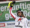 Katharina Liensberger of Austria reacts in finish of the second run of the women slalom race of the Audi FIS Alpine skiing World cup Flachau, Austria. Women slalom race of the Audi FIS Alpine skiing World cup season 2018-2019 was held Flachau, Austria, on Tuesday, 8th of January 2019.