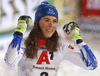 Winner Petra Vlhova of Slovakia reacts in finish of the second run of the women slalom race of the Audi FIS Alpine skiing World cup Flachau, Austria. Women slalom race of the Audi FIS Alpine skiing World cup season 2018-2019 was held Flachau, Austria, on Tuesday, 8th of January 2019.