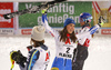 Winner Petra Vlhova of Slovakia (M), second placed Mikaela Shiffrin of USA (R) and third placed  Anna Swenn Larsson of Sweden (L) celebrating after the women slalom race of the Audi FIS Alpine skiing World cup  Flachau, Austria. Women slalom race of the Audi FIS Alpine skiing World cup season 2018-2019 was held Flachau, Austria, on Tuesday, 8th of January 2019.