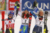 Winner Petra Vlhova of Slovakia (M), second placed Mikaela Shiffrin of USA (L) and third placed  Anna Swenn Larsson of Sweden (R) celebrating after the women slalom race of the Audi FIS Alpine skiing World cup  Flachau, Austria. Women slalom race of the Audi FIS Alpine skiing World cup season 2018-2019 was held Flachau, Austria, on Tuesday, 8th of January 2019.