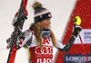 Second placed Mikaela Shiffrin of USA  celebrates on the podium after the women slalom race of the Audi FIS Alpine skiing World cup Flachau, Austria. Women slalom race of the Audi FIS Alpine skiing World cup season 2018-2019 was held Flachau, Austria, on Tuesday, 8th of January 2019.