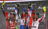 Winner Petra Vlhova of Slovakia (M), second placed Mikaela Shiffrin of USA (L) and third placed  Katharina Liensberger of Austria (R) celebrating on the podium after the women slalom race of the Audi FIS Alpine skiing World cup  Flachau, Austria. Women slalom race of the Audi FIS Alpine skiing World cup season 2018-2019 was held Flachau, Austria, on Tuesday, 8th of January 2019.
