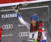 Winner  Petra Vlhova of Slovakia  celebrates on the podium after the women slalom race of the Audi FIS Alpine skiing World cup Flachau, Austria. Women slalom race of the Audi FIS Alpine skiing World cup season 2018-2019 was held Flachau, Austria, on Tuesday, 8th of January 2019.