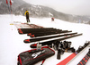 Swix technicians testing waxes and skis before beginning of Kitzbuehel World Cup races. Ski testing was done small ski hill in Reith bei Kitzbuehel on early Thursday morning of 24th of January 2019.