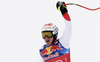 Second placed Beat Feuz of Switzerland reacts in finish of the men downhill race of the Audi FIS Alpine skiing World cup Kitzbuehel, Austria. Men downhill Hahnenkamm race of the Audi FIS Alpine skiing World cup season 2018-2019 was held Kitzbuehel, Austria, on Friday, 25th of January 2019.