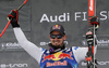Winner Dominik Paris of Italy celebrates his medal won in the men downhill race of the Audi FIS Alpine skiing World cup Kitzbuehel, Austria. Men downhill Hahnenkamm race of the Audi FIS Alpine skiing World cup season 2018-2019 was held Kitzbuehel, Austria, on Friday, 25th of January 2019.