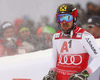 Marcel Hirscher of Austria reacts in finish of the second run of men slalom race of the Audi FIS Alpine skiing World cup Kitzbuehel, Austria. Men slalom Hahnenkamm race of the Audi FIS Alpine skiing World cup season 2018-2019 was held Kitzbuehel, Austria, on Saturday, 26th of January 2019.