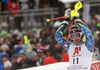 Andre Myhrer of Sweden reacts in finish of the second run of men slalom race of the Audi FIS Alpine skiing World cup Kitzbuehel, Austria. Men slalom Hahnenkamm race of the Audi FIS Alpine skiing World cup season 2018-2019 was held Kitzbuehel, Austria, on Saturday, 26th of January 2019.
