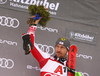 Second placed Marcel Hirscher of Austria celebrates his success after end of the second run of men slalom race of the Audi FIS Alpine skiing World cup Kitzbuehel, Austria. Men slalom Hahnenkamm race of the Audi FIS Alpine skiing World cup season 2018-2019 was held Kitzbuehel, Austria, on Saturday, 26th of January 2019.