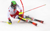 Michael Matt of Austria skiing during first run of men slalom race of the Audi FIS Alpine skiing World cup Kitzbuehel, Austria. Men slalom Hahnenkamm race of the Audi FIS Alpine skiing World cup season 2018-2019 was held Kitzbuehel, Austria, on Saturday, 26th of January 2019.