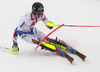 Clement Noel of France skiing during first run of men slalom race of the Audi FIS Alpine skiing World cup Kitzbuehel, Austria. Men slalom Hahnenkamm race of the Audi FIS Alpine skiing World cup season 2018-2019 was held Kitzbuehel, Austria, on Saturday, 26th of January 2019.
