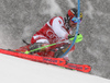 Marcel Hirscher of Austria skiing during first run of men slalom race of the Audi FIS Alpine skiing World cup Kitzbuehel, Austria. Men slalom Hahnenkamm race of the Audi FIS Alpine skiing World cup season 2018-2019 was held Kitzbuehel, Austria, on Saturday, 26th of January 2019.