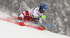 Marco Schwarz of Austria skiing during first run of men slalom race of the Audi FIS Alpine skiing World cup Kitzbuehel, Austria. Men slalom Hahnenkamm race of the Audi FIS Alpine skiing World cup season 2018-2019 was held Kitzbuehel, Austria, on Saturday, 26th of January 2019.