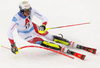 Ramon Zenhaeusern of Switzerland skiing during first run of men slalom race of the Audi FIS Alpine skiing World cup Kitzbuehel, Austria. Men slalom Hahnenkamm race of the Audi FIS Alpine skiing World cup season 2018-2019 was held Kitzbuehel, Austria, on Saturday, 26th of January 2019.
