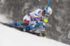 Victor Muffat-Jeandet of France skiing during first run of men slalom race of the Audi FIS Alpine skiing World cup Kitzbuehel, Austria. Men slalom Hahnenkamm race of the Audi FIS Alpine skiing World cup season 2018-2019 was held Kitzbuehel, Austria, on Saturday, 26th of January 2019.