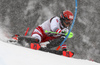 Christian Hirschbuehl of Austria skiing during first run of men slalom race of the Audi FIS Alpine skiing World cup Kitzbuehel, Austria. Men slalom Hahnenkamm race of the Audi FIS Alpine skiing World cup season 2018-2019 was held Kitzbuehel, Austria, on Saturday, 26th of January 2019.