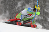 Stefan Hadalin of Slovenia skiing during first run of men slalom race of the Audi FIS Alpine skiing World cup Kitzbuehel, Austria. Men slalom Hahnenkamm race of the Audi FIS Alpine skiing World cup season 2018-2019 was held Kitzbuehel, Austria, on Saturday, 26th of January 2019.