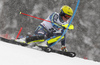 Mattias Hargin of Sweden skiing during first run of men slalom race of the Audi FIS Alpine skiing World cup Kitzbuehel, Austria. Men slalom Hahnenkamm race of the Audi FIS Alpine skiing World cup season 2018-2019 was held Kitzbuehel, Austria, on Saturday, 26th of January 2019.