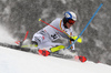 Linus Strasser of Germany skiing during first run of men slalom race of the Audi FIS Alpine skiing World cup Kitzbuehel, Austria. Men slalom Hahnenkamm race of the Audi FIS Alpine skiing World cup season 2018-2019 was held Kitzbuehel, Austria, on Saturday, 26th of January 2019.