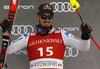 Third placed Dominik Paris of Italy celebrates his medal won in the super-g race of the Audi FIS Alpine skiing World cup Kitzbuehel, Austria. Men super-g Hahnenkamm race of the Audi FIS Alpine skiing World cup season 2018-2019 was held Kitzbuehel, Austria, on Sunday, 27th of January 2019.