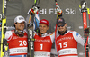 Winner Josef Ferstl of Germany (M), second placed Johan Clarey of France (L) and third placed Dominik Paris of Italy (R) celebrate their medals won in the super-g race of the Audi FIS Alpine skiing World cup Kitzbuehel, Austria. Men super-g Hahnenkamm race of the Audi FIS Alpine skiing World cup season 2018-2019 was held Kitzbuehel, Austria, on Sunday, 27th of January 2019.
