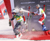 Winner Henrik Kristoffersen of Norway (L), second placed Rasmus Windingstad of Norway  (M) and third placed Marco Odermatt of Switzerland  (R) celebrating after the men giant slalom race of the Audi FIS Alpine skiing World cup in Kranjska Gora, Slovenia. Men giant slalom race of the Audi FIS Alpine skiing World cup season 2018-2019 was held on Podkoren course in Kranjska Gora, Slovenia, on Saturday, 9th of March 2019.