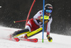 Manuel Feller of Austria skiing during the first run of the men slalom race of the Audi FIS Alpine skiing World cup in Kranjska Gora, Slovenia. Men slalom race of the Audi FIS Alpine skiing World cup season 2018-2019 was held on Podkoren course in Kranjska Gora, Slovenia, on Sunday, 10th of March 2019.
