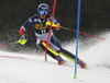 Dave Ryding of Great Britain skiing during the first run of the men slalom race of the Audi FIS Alpine skiing World cup in Kranjska Gora, Slovenia. Men slalom race of the Audi FIS Alpine skiing World cup season 2018-2019 was held on Podkoren course in Kranjska Gora, Slovenia, on Sunday, 10th of March 2019.