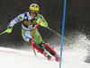 Stefan Hadalin of Slovenia skiing during the first run of the men slalom race of the Audi FIS Alpine skiing World cup in Kranjska Gora, Slovenia. Men slalom race of the Audi FIS Alpine skiing World cup season 2018-2019 was held on Podkoren course in Kranjska Gora, Slovenia, on Sunday, 10th of March 2019.