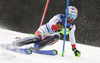 Luca Aerni of Switzerland skiing during the first run of the men slalom race of the Audi FIS Alpine skiing World cup in Kranjska Gora, Slovenia. Men slalom race of the Audi FIS Alpine skiing World cup season 2018-2019 was held on Podkoren course in Kranjska Gora, Slovenia, on Sunday, 10th of March 2019.