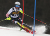 Elias Kolega of Croatia skiing during the first run of the men slalom race of the Audi FIS Alpine skiing World cup in Kranjska Gora, Slovenia. Men slalom race of the Audi FIS Alpine skiing World cup season 2018-2019 was held on Podkoren course in Kranjska Gora, Slovenia, on Sunday, 10th of March 2019.