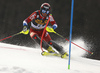 Alexander Khoroshilov of Russia skiing during the first run of the men slalom race of the Audi FIS Alpine skiing World cup in Kranjska Gora, Slovenia. Men slalom race of the Audi FIS Alpine skiing World cup season 2018-2019 was held on Podkoren course in Kranjska Gora, Slovenia, on Sunday, 10th of March 2019.
