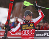 Third placed Marcel Hirscher of Austria celebrating after the men slalom race of the Audi FIS Alpine skiing World cup in Kranjska Gora, Slovenia. Men slalom race of the Audi FIS Alpine skiing World cup season 2018-2019 was held on Podkoren course in Kranjska Gora, Slovenia, on Sunday, 10th of March 2019.
