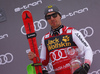 Third placed Marcel Hirscher of Austria celebrating on the podium after the men slalom race of the Audi FIS Alpine skiing World cup in Kranjska Gora, Slovenia. Men slalom race of the Audi FIS Alpine skiing World cup season 2018-2019 was held on Podkoren course in Kranjska Gora, Slovenia, on Sunday, 10th of March 2019.