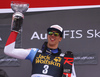 Winner Ramon Zenhaeusern of Switzerland celebrating on the podium after the men slalom race of the Audi FIS Alpine skiing World cup in Kranjska Gora, Slovenia. Men slalom race of the Audi FIS Alpine skiing World cup season 2018-2019 was held on Podkoren course in Kranjska Gora, Slovenia, on Sunday, 10th of March 2019.