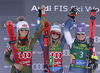 Winner Alice Robinson of New Zealand (M), second placed Mikaela Shiffrin of USA (L) and third placed Tessa Worley of France (R) celebrate their medals won in the women giant slalom race of the Audi FIS Alpine skiing World cup in Soelden, Austria. First race of women Audi FIS Alpine skiing World cup season 2019-2020, women giant slalom, was held on Rettenbach glacier above Soelden, Austria, on Saturday, 26th of October 2019.